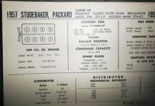 1957 Studebaker & Packard 289 CI V8 SUN Electric Tune Up Chart Great Condition!