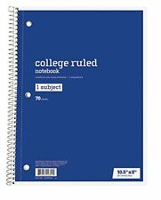 Six (6) One-Subject College-Ruled Spiral Notebooks, 70 Sheets Ea, Ships Today