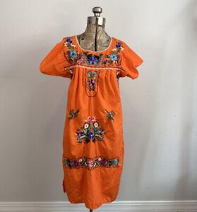 Mexican embroidered handmade boho hippy Midi dress size s