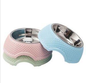 Pet Dog/cat Portable Water Food Non Slip Single/Double Bowls Various Sizes