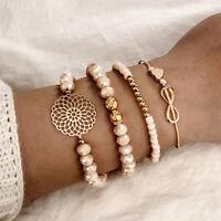 4Pcs Bohemian Multi-layer 8 Infinity Beads Bracelet Set Women Bangle JewelryJJC