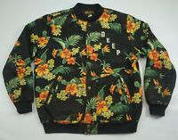 Rare 10 DEEP Spell Out Floral Flower Pattern Denim Bomber Varsity Jacket Size L