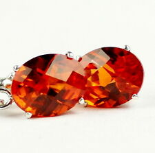 Created Padparadsha Sapphire, Sterling Silver Leverback Earrings, SE107