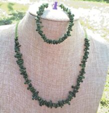 Green Bamboo Coral Branches Beads Handmade Necklace and Bracelet Set of Forest