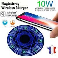 Chargeur sans fil Qi Induction LED 10W Rapide cercle magique Iphone Samsung