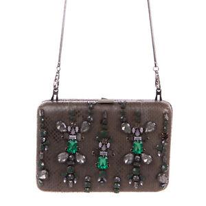 RRP €220 MALIPARMI Snakeskin Clutch Bag HANDMADE Rhinestones Front Chain Strap