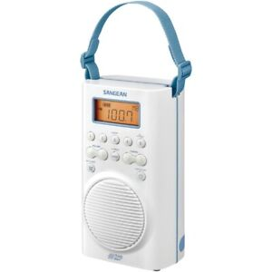 SANGEAN H205 AM/FM/Weather Alert Waterproof Shower Radio White