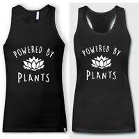 Vegan T Shirt Powered by Plants Men Women Summer Black Tank Tops