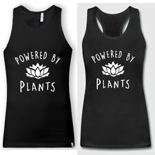 Vegan T Shirt Powered by Plants Men Women Summer Black Tank Tops