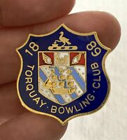 Vintage Metal Enamel 1889 TORQUAY Bowling Club Association Pin Badge
