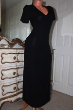 (S8)  LAURA ASHLEY Black Elasticated Full Length Long Dress size Small Petite