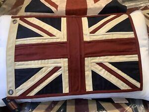 Union Jack Textile Flag ( Vintage White 49x33cms White Ended)