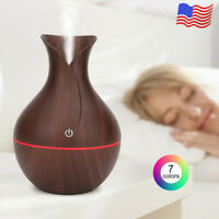 LED Air Humidifier Aroma Essential Oil Diffuser Mist Maker Purifier Vase R4Y1