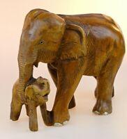 Holz Elefant geschnitzt 25 cm Thai Elefanten Thailand Schnitzerei Massivholz neu