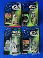 LOT OF 4 ~ STAR WARS Power Of The Force ACTION FIGURES Kenner Green Back ~ New