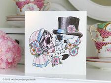 'Til Death' Bride & Groom Sugar Skull Day of the Dead Tattoo Valentines Day Card
