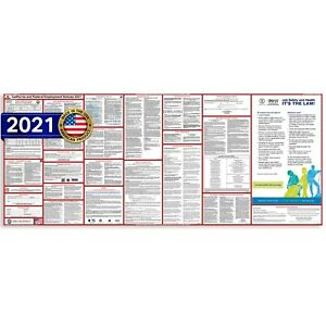 2021 California CA State & Federal All In One Labor Law Poster Ultra-wide PAPER