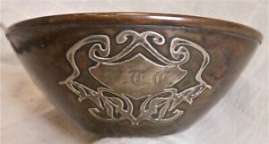 """Great Mixed Metal Silver On Copper Double Walled Arts & Crafts Bowl, 9"""" Diam."""