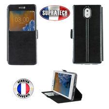 Etui Rabattable Noir Avec Ouverture Ecran pour Nokia 3