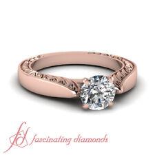 1/2 Carat Round Cut Diamond Solitaire Women Engagement Rings 14K Rose Gold GIA