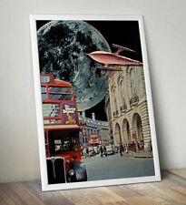 More details for sci fi art print, collage art print, london bus print, space age print