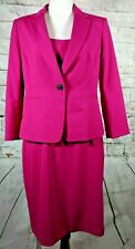Ann Taylor Suit Sleeveless Sheath Dress One Button Coat 3/4 Sleeve Dark Pink 8