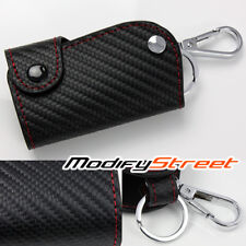 "2""x3.25"" JDM RED STITCH/PVC LEATHER CARBON FIBER LOOK REMOTE KEY CASE BAG HOLDER"