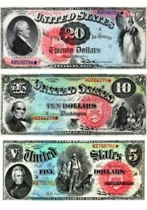 1869 Rainbow Series Repro.of  8 notes  / $1, $2, $5, $10, $20, 50,100, & 500
