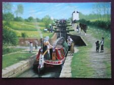POSTCARD LEICESTERSHIRE FOXTON FLIGHT LEICESTER SECTION GRAND UNION CANAL PAINTI