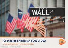 "POSTZEGELMAPJE M526 - 526  ""GRENZELOOS NEDERLAND 2015: USA"""