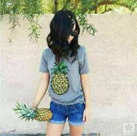 Women Ladies Pineapple Printed T-Shirt Top Tee Short Sleeve Round Collar Blouse