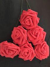 6 Rosas Coral De Espuma 6cm Flores Ramo de Novia Boda Fiesta Decoración De Hogar