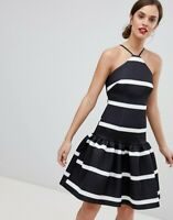 ASOS™ DESIGN $96 Stripe Scuba Drop Waist Midi Dress - MONOCHROME