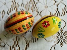 2 Hand Painted Wooden Eggs Poland Perfect!