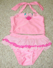 Mack & Co Bathing Beauty Pink Flower Swim Suits Seperate Frilled Skirted Girls 6