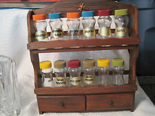 Vtg. CI SPICE RACK  SHELF  WITH 12 GLASS APOTHECARY SPICE BOTTLES MADE IN JAPAN