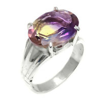 Oval Ametrine Natural Gemstone Handmade 925 Sterling Silver Ring Size 9 SR-894