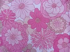 St Michael Vintage Large Single Flat Sheet ~Retro 1970s Pink Flower Power L104''