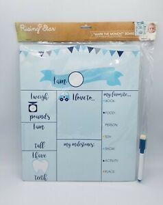 """Rising Star Baby Boy Announcement Board - Dry Erase Board and Marker 11""""x13"""" NEW"""