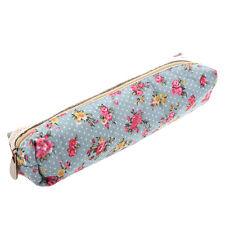 Women's Flower Floral Lace Pencil Pen Cosmetic Bag Zipper Pouch Sky Blue BT I0P3