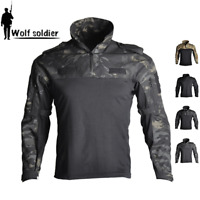 Military Shirt Mens Tactical T-Shirts Combat Long Sleeve Army Pullover T-Shirt