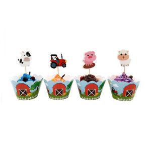 24pcs Farm Animal Cake Cupcake Wrapper Topper birthday Theme party Decoration