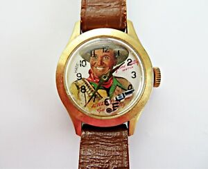 VINTAGE GENE AUTRY WATCH ANIMATED SIX SHOOTER 1948 LEATHER BAND-SEE DESCRIPTION