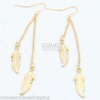 1Pair Feather Chain Tassel Hook Earrings Ear Chandelier Drop Dangle Jewelry Gift