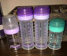 Lot of 4 Vintage Playtex Nurser Bottles Purple & Green