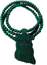 Jesus Christ Pendant Christian Turquoise Wood Wooden Necklace With Chain