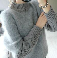 New Women Girl Fashion Korean Winter Fall Long Sleeve Sweater Grey Top Casual