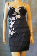 SUE WONG NOCTURNE Tiered Ruffle Black Beaded Rosette Silk After 5 Mini Dress 4