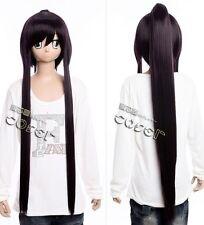 W-291 secundaria of the Dead saya cosplay peluca Wig negro Black perruque