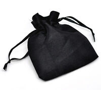10 - Black Satin Gift Favour Bags 90mm x 70mm (9cm x 7cm) Crystals Pouch B59